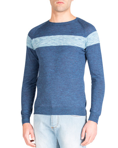 Men's Chest-Striped Wool Sweater