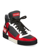 Dolce & Gabbana Men's High-Top Colorblock Leather Sneakers
