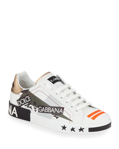 Men's Portofino Logo Leather Low-Top Sneakers