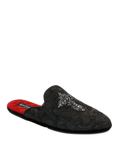 Men's Da Camera Jacquard Slippers with Crystal Cross