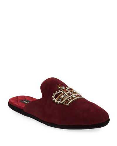 Men's Da Camera Embellished Suede Slippers