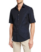Salvatore Ferragamo Men's Embroidered Gancini Short Sleeve Shirt