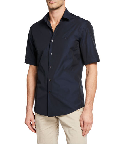 Men's Embroidered Gancini Short Sleeve Shirt