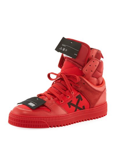 Men's Off Court High-Top Leather Sneakers, Red