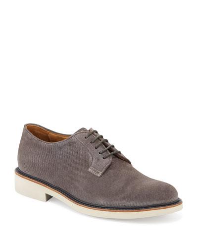 Men's Suede Low-Top Derby Shoe, Dark Gray