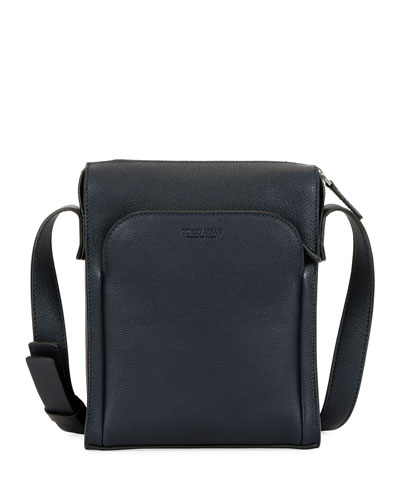 Men's Tumbled Calf Leather Crossbody Bag