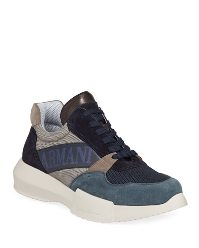 Men's Logo-Embossed Suede-Trim Trainer Sneakers