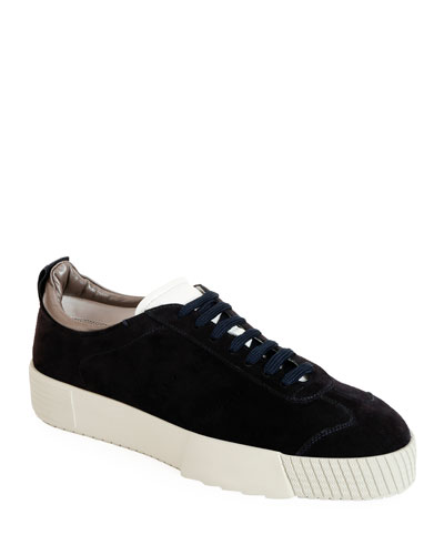 Men's Suede Low-Top Sneakers, Navy