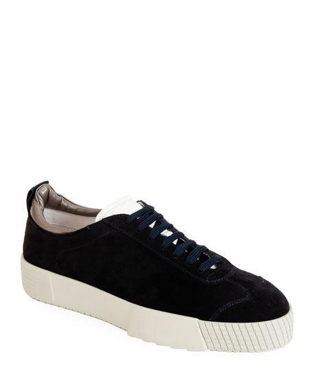 Giorgio Armani Men's Suede Low-Top Sneakers, Navy