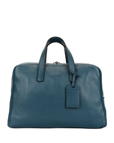 Men's Deer Leather Carryall Duffel Bag, Blue