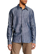 Berluti Men's Cotton/Linen Denim Sport Shirt