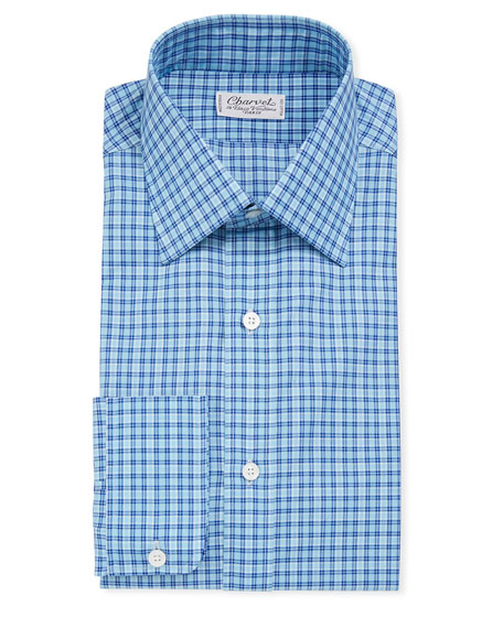 Charvet Men's Tattersall Long-Sleeve Dress Shirt
