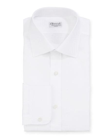 Charvet Men's Solid Linen Dress Shirt, White
