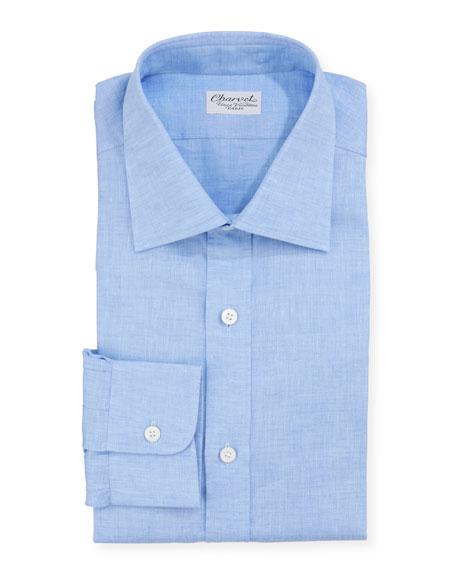 Charvet Men's Solid Linen Dress Shirt, Blue