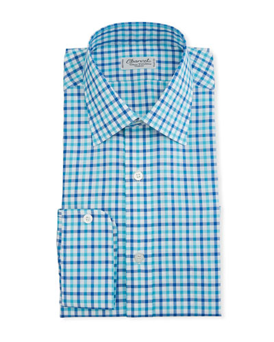 Men's Two-Tone Plaid Dress Shirt, Blue/Green