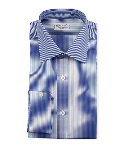Men's Vertical Stripe Dress Shirt, Navy