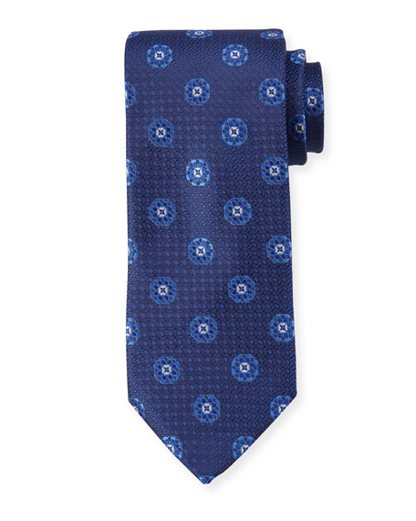 Canali Men's Circle Medallions Silk Tie, Blue