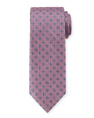 Canali Men's Woven Hexagon Silk Tie, Pink