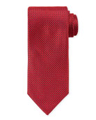 Canali Men's Satin Tonal Geometric Tie, Red