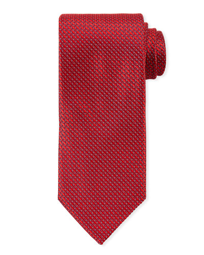 Men's Satin Tonal Geometric Tie, Red