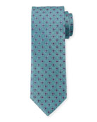 Canali Men's Woven Hexagon Silk Tie, Green