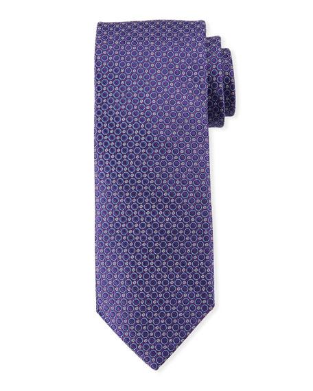 Canali Men's Woven Circles Tie, Purple