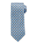 Canali Connected Medallions Silk Tie, Blue