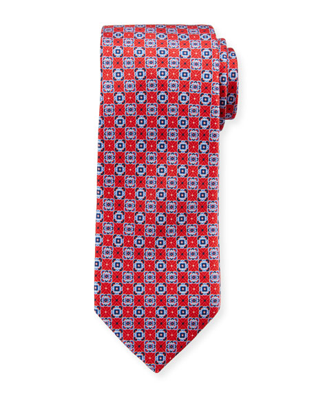 Canali Connected Medallions Silk Tie, Red