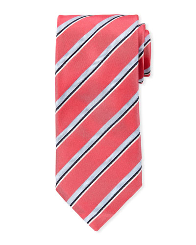 Men's Satin Stripe Tie, Pink