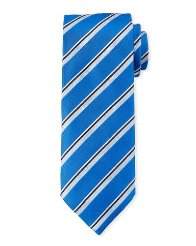 Men's Satin Stripe Tie, Blue