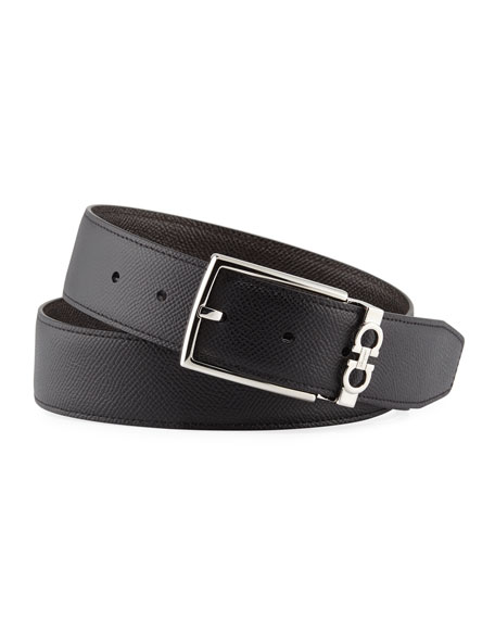Salvatore Ferragamo Men's Reversible Textured Leather Belt with Classic Buckle