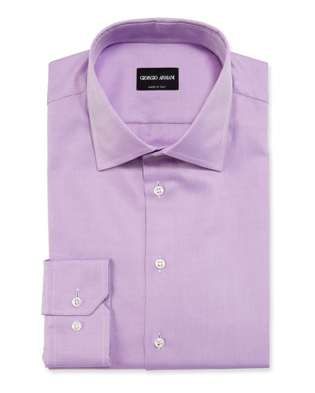 Giorgio Armani Men's Solid Twill Dress Shirt, Lavender