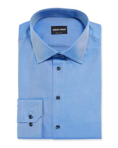 Men's Solid Twill Dress Shirt, Deep Blue
