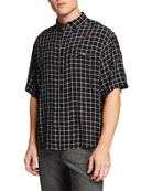 Balenciaga Men's Plaid Short-Sleeve Sport Shirt