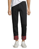 Ovadia & Sons Men's Panic Plaid-Cuff Twill Pants