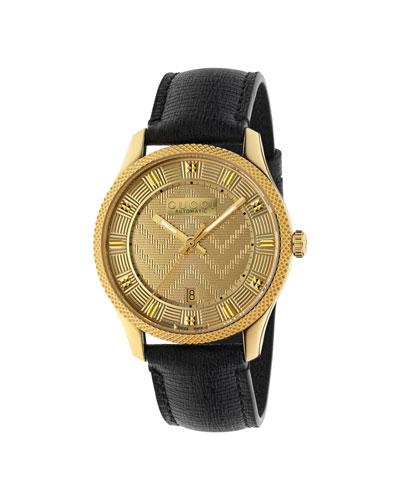 Men's Automatic Chevron-Dial Watch w/ Leather Strap