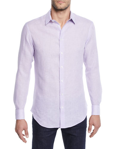 Men's Micro-Houndstooth Linen Sport Shirt, Light Purple
