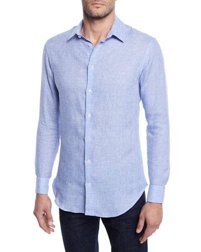 Men's Micro-Houndstooth Linen Sport Shirt