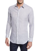 Giorgio Armani Men's Micro-Houndstooth Linen Sport Shirt, Light