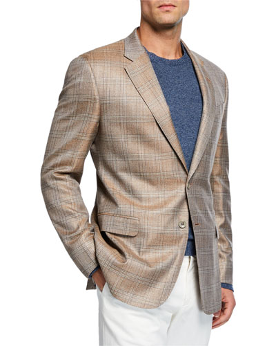 Men's Melange Plaid Sport Coat