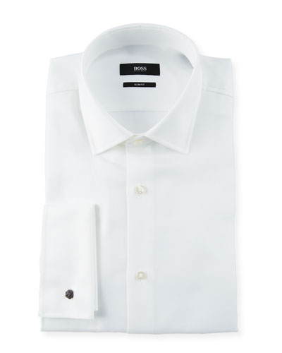 Men's Slim Fit Structured French-Cuff Dress Shirt