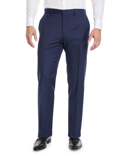 Men's Solid Wool Trousers with Pocket Trim
