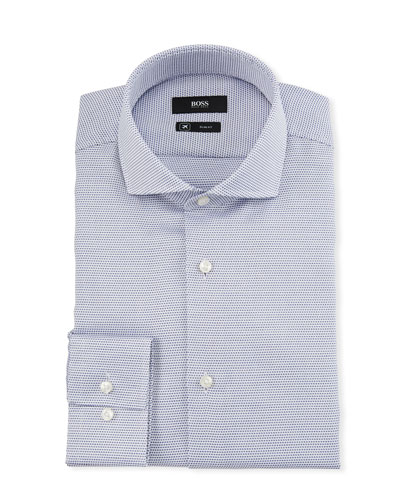 Men's Slim Fit Dotted Cool-Comfort Travel Dress Shirt