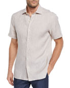 Ermenegildo Zegna Men's Short-Sleeve Linen Sport Shirt