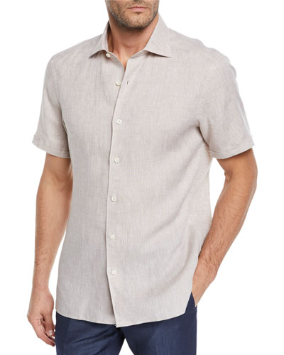Men's Short-Sleeve Linen Sport Shirt