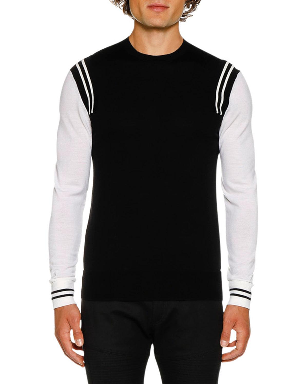 NEIL BARRETT Men'S Wool Varsity Jumper Sweater in Black/White