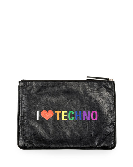 "Balenciaga Men's Supermarket Clip Leather ""I Heart Techno"" Pouch"