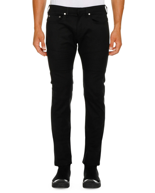 NEIL BARRETT Men'S Ergodynamic Straight-Fit Biker Jeans in Black