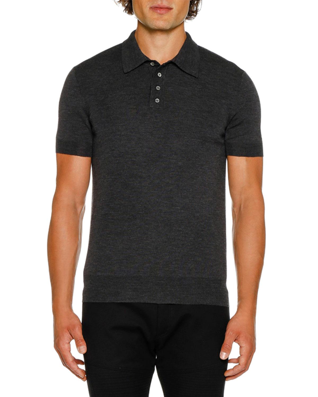 NEIL BARRETT Men'S Short-Sleeve Knitted Polo Shirt in Gray