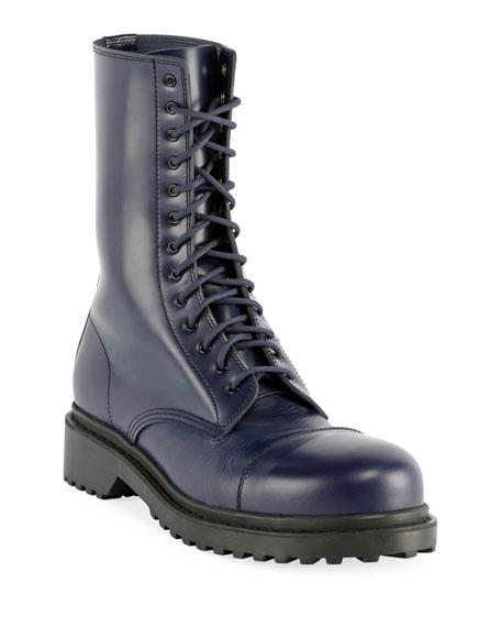 Balenciaga Men's Leather Combat Boots